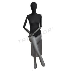 Mannequin woman sitting in matt-grey, black fabric, tridecor