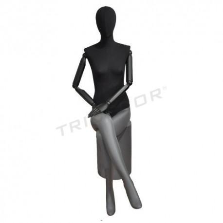 Mannequin woman sitting in matt-grey, black fabric, tridecor