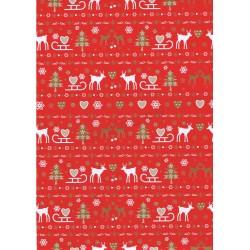 Papel de regalo navideño fondo rojo 62cm