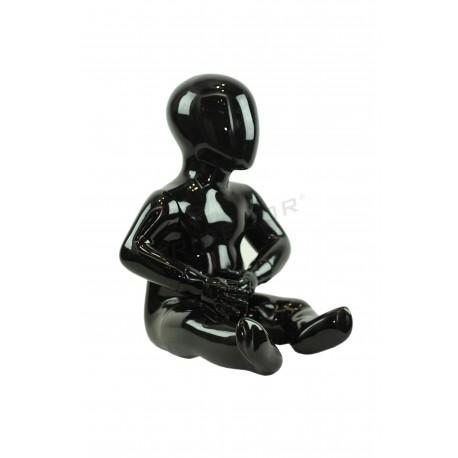 Maniquí nen de fibra de vidre 1-2 anys assegut color negre brillant