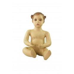 Manequim infantil menina sentada de 1 ano cor de carne mate