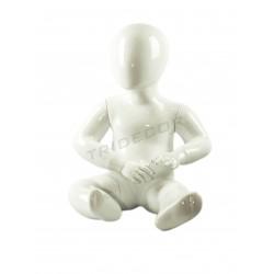 Manequim infantil criança sentar-1 ano branco brilho