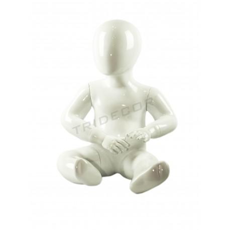 Maniquí infantil niño sentado 1 año blanco brillo
