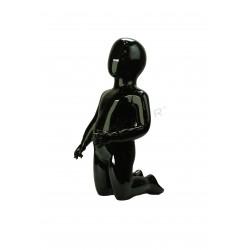 Maniquí infantil fibra vídrio arrodillado negro brillo