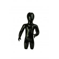 Mannequin child fiber glass kneeling gloss black