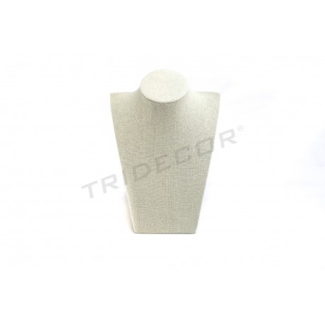 Expositor collar lino beige 21.5X15X9 cm, tridecor