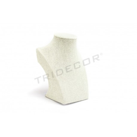 Expositor collar lino beige 7.5X12.5X16 cm, tridecor