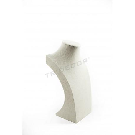 Expositor de collar lino beige 40x24x15cm, tridecor