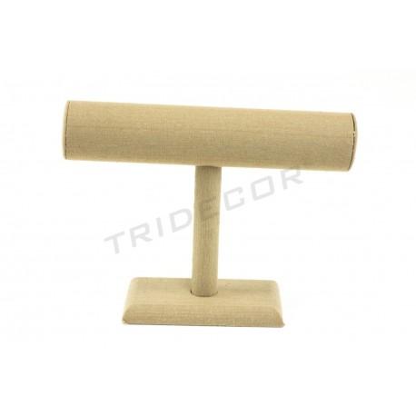 Expositor en T para pulseras, lino beige, tridecor