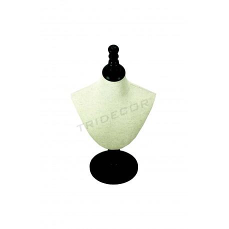 Expositor de collares regulable tela lino beige, madera negra, tridecor