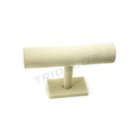 Expositor pulseras lino beige 22.5x6.5x14.5 cm, tridecor