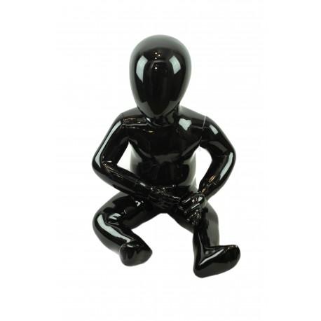 Maniquí niño sentado negro brillo 2-3 años