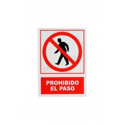 Cartel de entrada prohibida vermello/branco 21x30cm