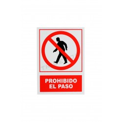 Cartel prohibido el paso, rojo y blanco 21x30cm, tridecor