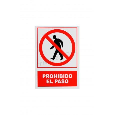 Cartell no trespassing vermell/blanc 21x30cm