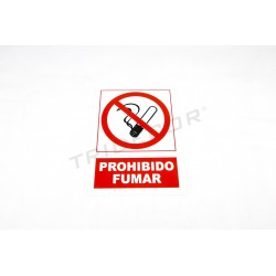 Cartel prohibido fumar, rojo y blanco. 21x30 cm, tridecor