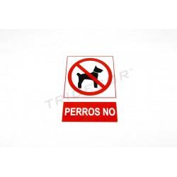 Cartell de prohibit gossos vermell/blanc 21x30cm