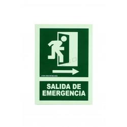 Cartel salida emergencia verde 21x30cm. tridecor