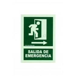 Senyal de sortida d'emergència verd 21x30cm.