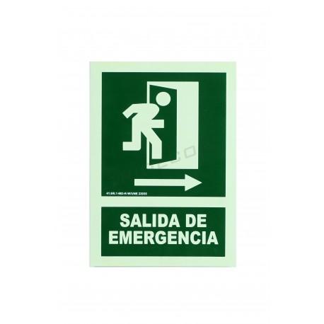 Cartel salida emergencia verde 21x30cm.