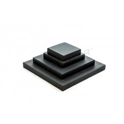 EXHIBITOR JEWELRY, SET SQUARE, LEATHERETTE BLACK, 4 HEIGHTS