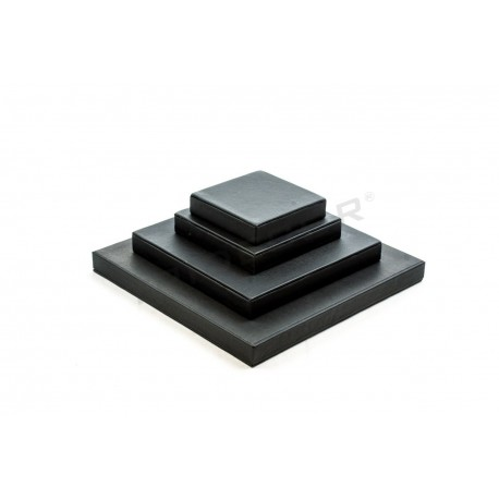 Expositor joyería, conjunto cuadrado, polipiel negro, 4 alturas, tridecor