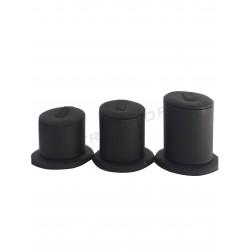 Expositor para anillos a 3 alturas, polipiel negra, tridecor