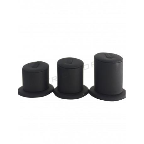 Expositores para os aneis de 3 alturas, con negro de coiro sintético, tridecor