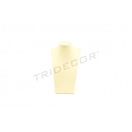 Expositor collares, polipiel vainilla. 30x18x11 cm, tridecor