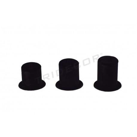 Expositor joyeria para anillos, terciopelo negro. 3 alturas, tridecor
