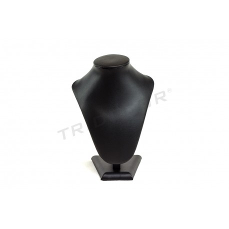 Expositor para collares, polipiel negro. 13x10x18 cm, tridecor
