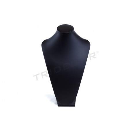 Exhibitor great for necklaces, with black synthetic leather