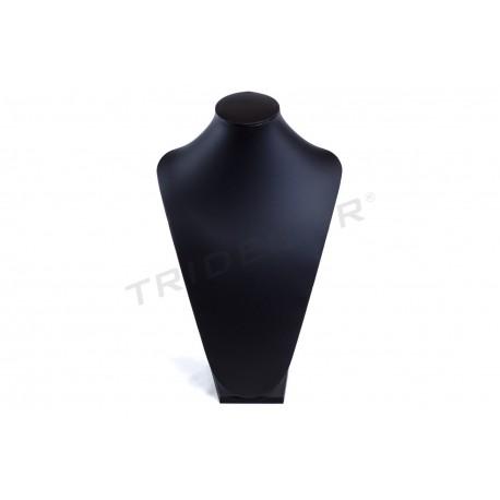 Exposant grande pour les colliers, avec du noir de cuir synthétique