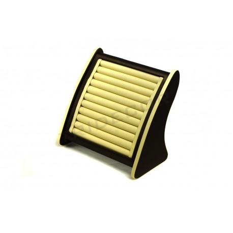 Expositor joyería para anillos, polipiel vainilla / chocolate, tridecor