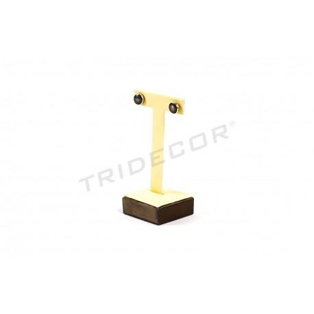 Expositor T para pendientes, polipiel vainilla y chocolate, tridecor