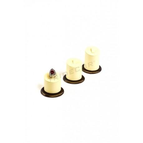 Expositor anillos, 3 alturas. Polipiel vainilla y chocolate, tridecor
