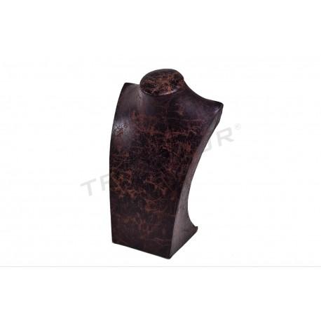 Expositor collar, polipiel marrón, grande. tridecor