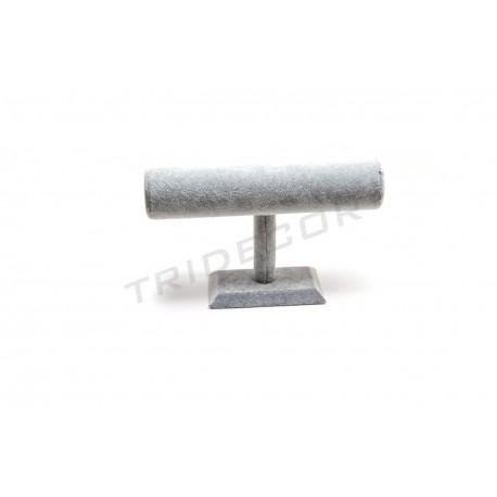 Expositor pulseras terciopelo gris 24x8x15 cm