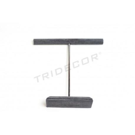 Expositor en forma de T para anillos, terciopelo gris oscuro