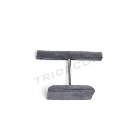 Expositor anillos en forma de T, terciopelo gris oscuro, tridecor