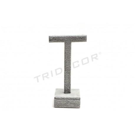 Exhibitor T for earrings, grey velvet 5x5x13 cm