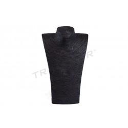 Espositore ideale per collane, vestita di nero e corda