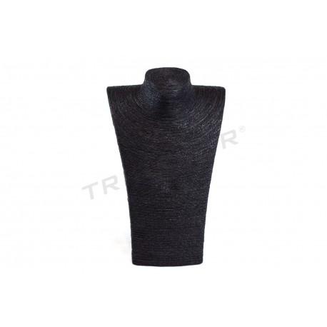 Exposant grande pour les colliers, vêtus de noir de la corde