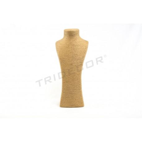 Expositor para colares, revestido em corda cor avana