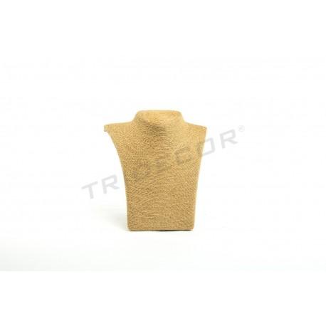 Expositor per a collarets de color avana, recoberts de corda