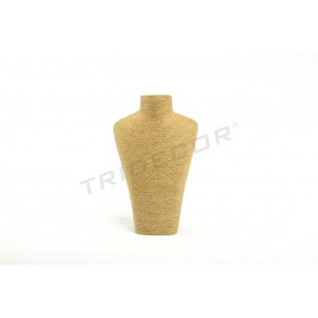 Expositor para collares color avana, revestido en cuerda