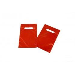 Bolsa plástico, roja asa troquelada. 16x25 cm. 100 uds, tridecor