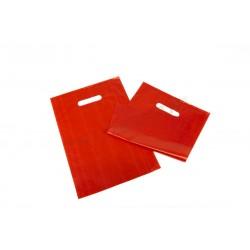 Bolsa plástico, roja asa troquelada, 25x35 cm. 100 uds, tridecor