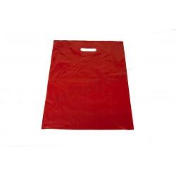 Bolsa plástico roja. Asa troquelada, 40x50 cm. 100 uds, tridecor