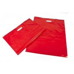 Bolsa plástico roja, asa troquelada, 50x60 cm. 100 uds, tridecor